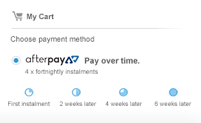 Afterpay cart display